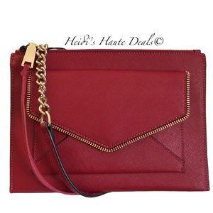 Rebecca Minkoff Leo Red Leather Flat Crossbody Bag